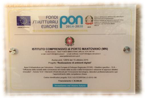Targa PON 2 Scuola Primaria di Sant'Antonio