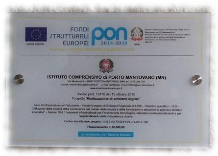 Targa PON1 Scuola primaria di Montata Carra